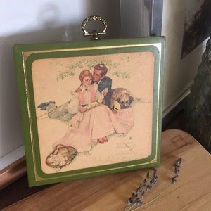 VINTAGE Norman Rockwell Romantic Garden Wall Hang